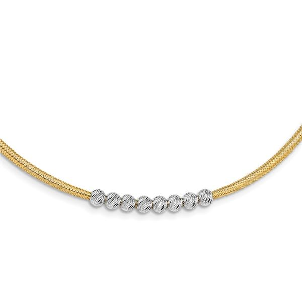14K Two-tone D/C Beads Stretch Mesh Necklace - 17.25 in.
