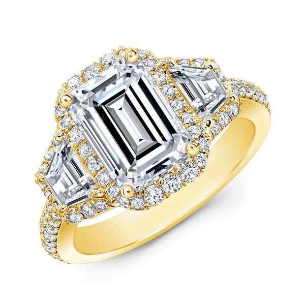 Natural 5.02 CTW Halo Emerald Cut & Trapezoids Diamond Engagement Ring 14KT Yellow Gold