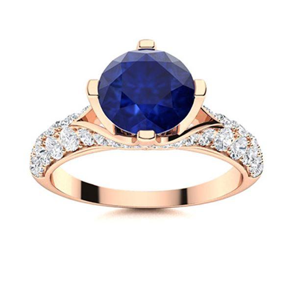 Natural 2.83 CTW Sapphire & Diamond Engagement Ring 14K Rose Gold