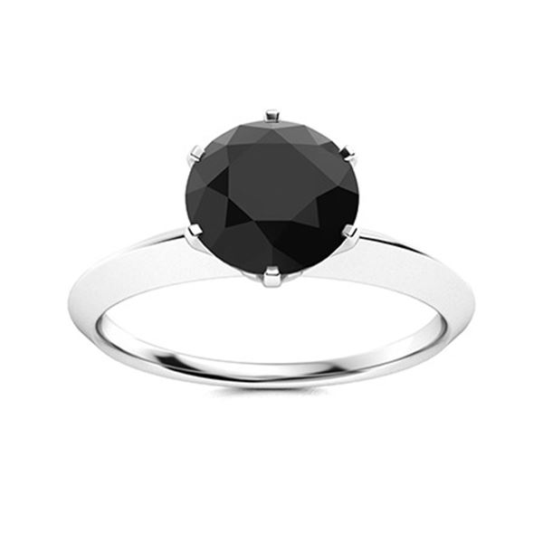 Natural 0.81 CTW Black Diamond Solitaire Ring 14K White Gold