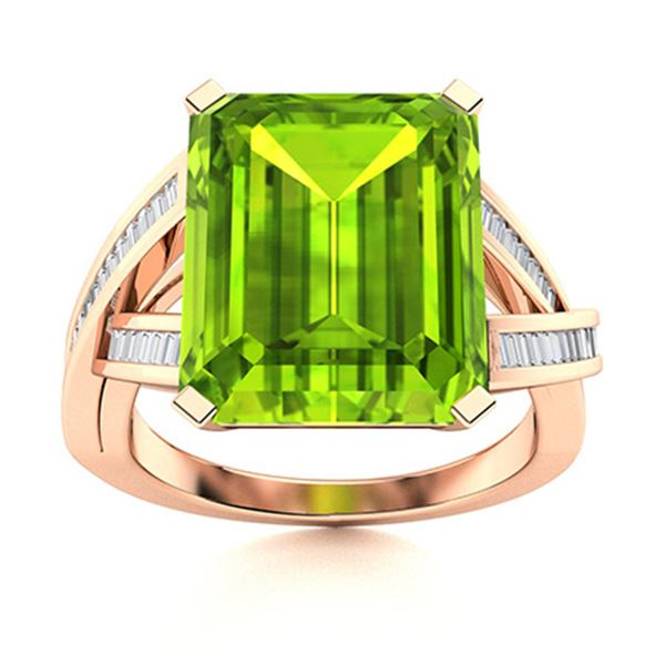Natural 10.75 CTW Peridot & Diamond Engagement Ring 14K Rose Gold
