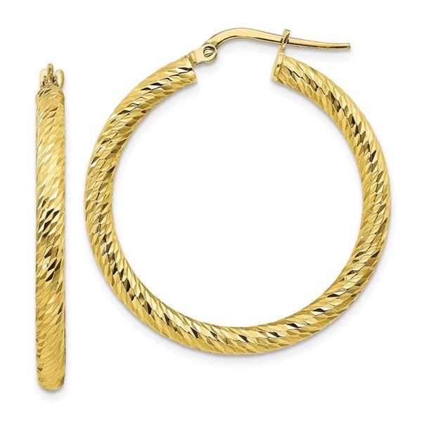 10k Yellow Gold Diamond-cut Round Hoop Earrings - 25 mm
