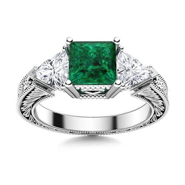 Natural 2.0 CTW Emerald & Diamond Engagement Ring 18K White Gold