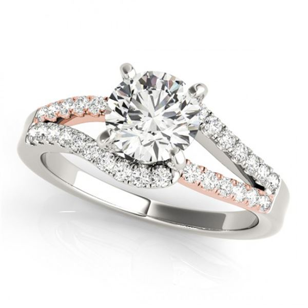 Natural 1.15 ctw Diamond Solitaire Ring 14k 2Tone Gold