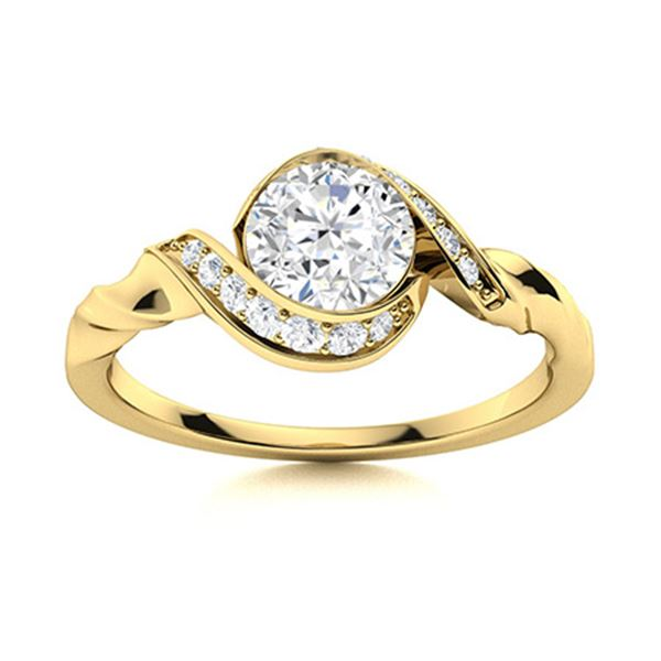Natural 0.75 CTW Topaz & Diamond Engagement Ring 18K Yellow Gold