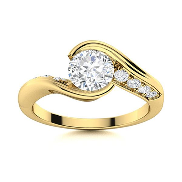 Natural 0.66 CTW Diamond Solitaire Ring 14K Yellow Gold