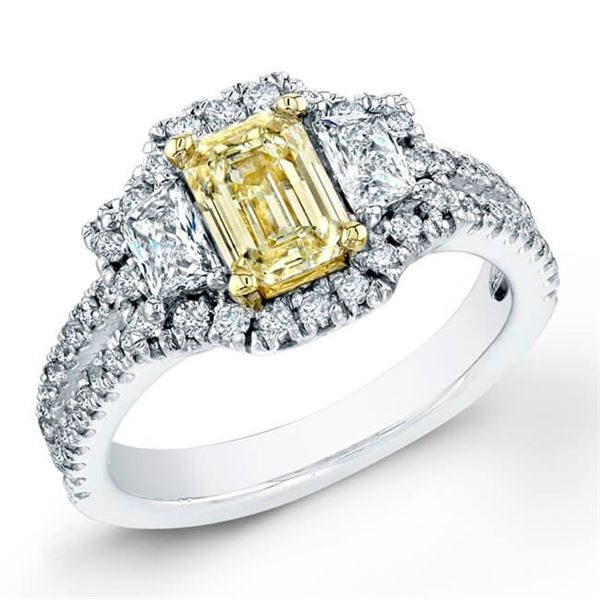 Natural 1.82 CTW Canary Yellow Emerald Cut Diamond Ring 14KT White Gold