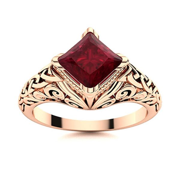 Natural 1.50 CTW Ruby Solitaire Ring 14K Rose Gold