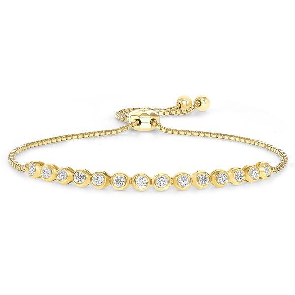 Natural 0.42 CTW Dream Diamond Bezel Bracelet 18KT Yellow Gold