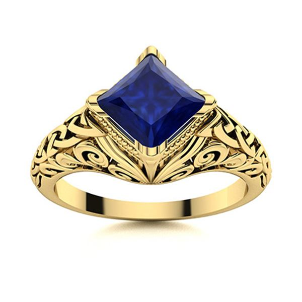 Natural 1.51 CTW Sapphire Solitaire Ring 18K Yellow Gold