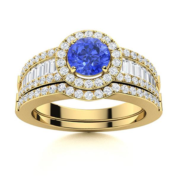 Natural 1.49 CTW Ceylon Sapphire & Diamond Engagement Ring 18K Yellow Gold