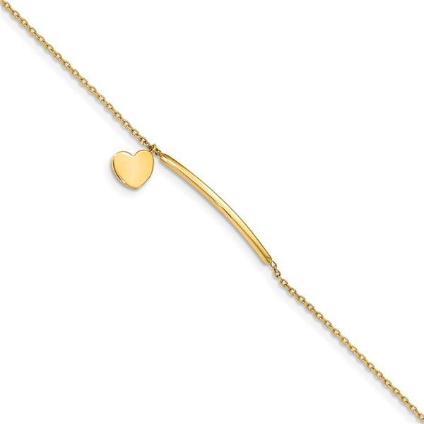 14k Yellow Gold Polished Heart w/ .5in ext. Bracelet