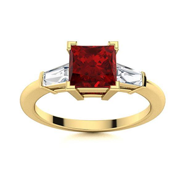 Natural 1.67 CTW Garnet & Diamond Engagement Ring 18K Yellow Gold