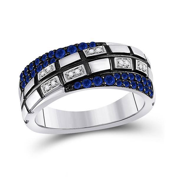 14kt White Gold Mens Round Blue Sapphire Diamond Band Ring 5/8 Cttw