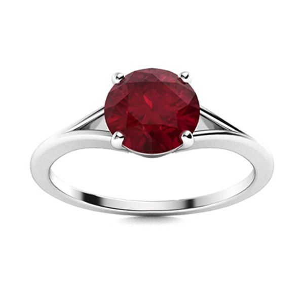 Natural 2.01 CTW Ruby Solitaire Ring 14K White Gold