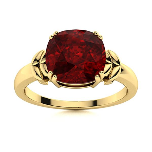 Natural 4.03 CTW Garnet Solitaire Ring 14K Yellow Gold