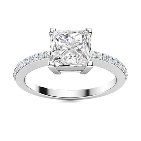 Natural 0.90 CTW Diamond Solitaire Ring 18K White Gold