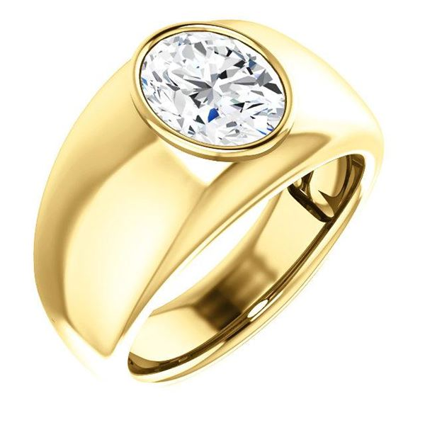 Natural 0.77 CTW Men's Oval Cut Solitaire Diamond Ring 18KT Yellow Gold
