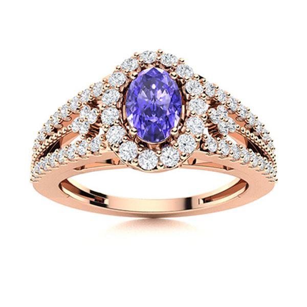 Natural 0.86 CTW Tanzanite & Diamond Engagement Ring 18K Rose Gold