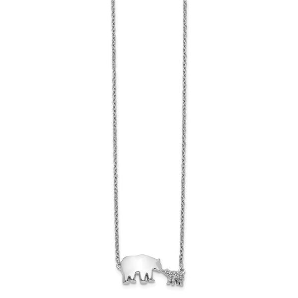 14k White Gold Diamond Mother & Baby Bear Necklace - 18 in.
