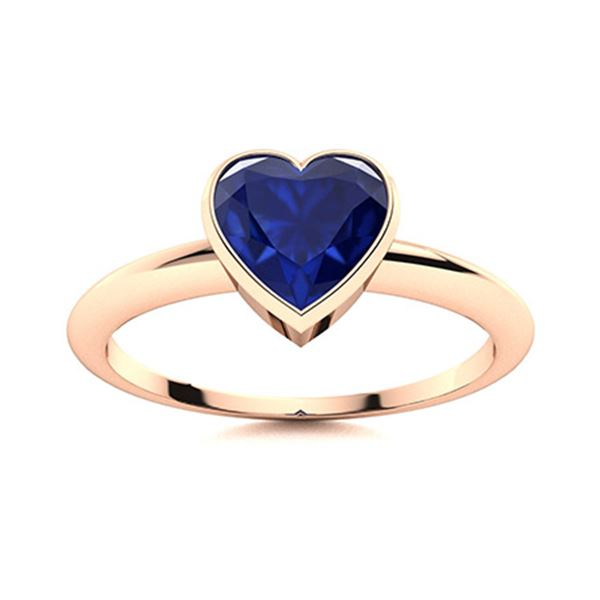 Natural 0.64 CTW Sapphire Solitaire Ring 18K Rose Gold