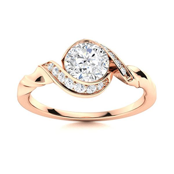 Natural 1.40 CTW Diamond Solitaire Ring 18K Rose Gold
