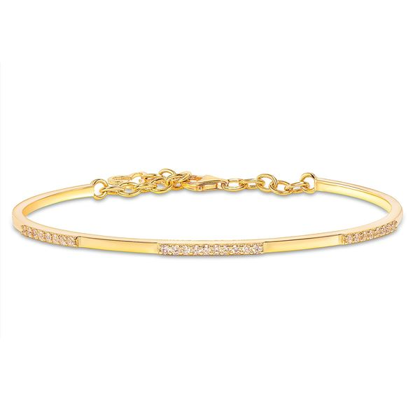 Natural 0.37 CTW Cutie Cuff Diamond Bangle 14KT Yellow Gold