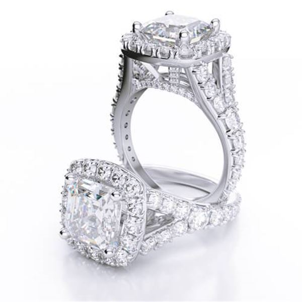 Natural 2.72 CTW Halo Asscher Cut Split Shank Diamond Engagement Ring 18KT White Gold