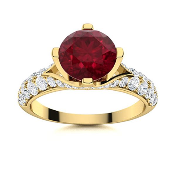 Natural 1.85 CTW Ruby & Diamond Engagement Ring 18K Yellow Gold