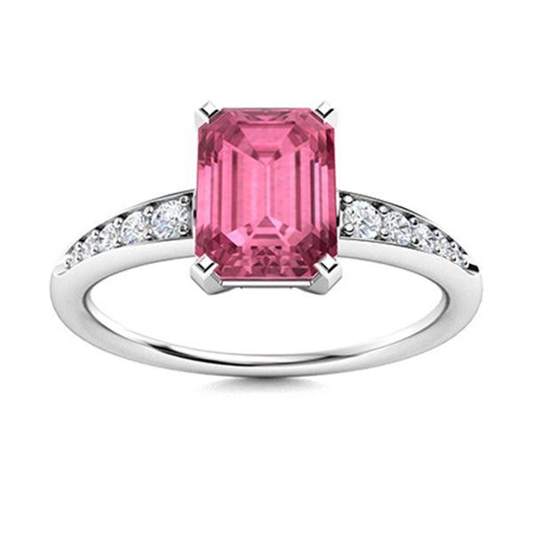 Natural 2.70 CTW Tourmaline & Diamond Engagement Ring 18K White Gold