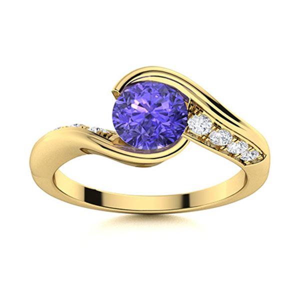 Natural 0.91 CTW Tanzanite & Diamond Engagement Ring 14K Yellow Gold