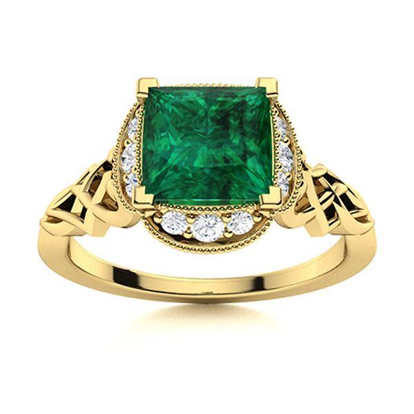 Natural 1.13 CTW Emerald & Diamond Engagement Ring 14K Yellow Gold