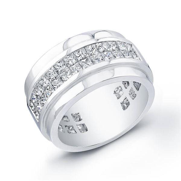Natural 1.74 CTW Men's Princess Cut Diamond Ring 18KT White Gold