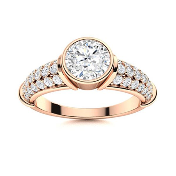 Natural 2.06 CTW Diamond Solitaire Ring 14K Rose Gold