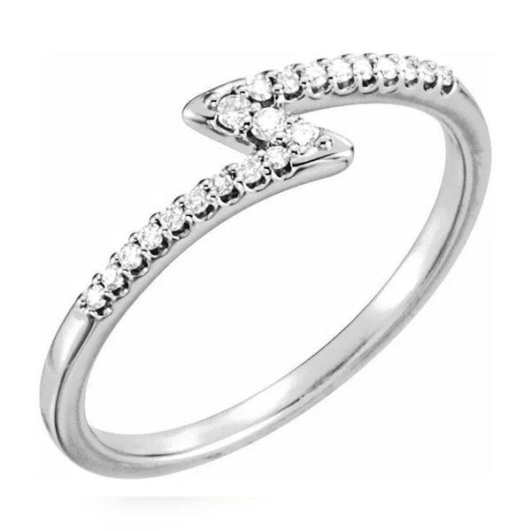 Natural 0.15 CTW Zig Zag Diamond Ring 18KT White Gold