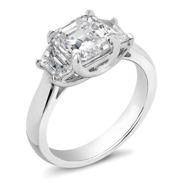 Natural 1.52 CTW 3-Stone Asscher Cut Diamond Ring 18KT White Gold