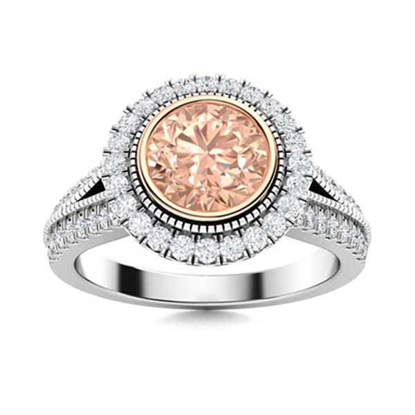 Natural 1.78 CTW Morganite & Diamond Engagement Ring 14K White Gold
