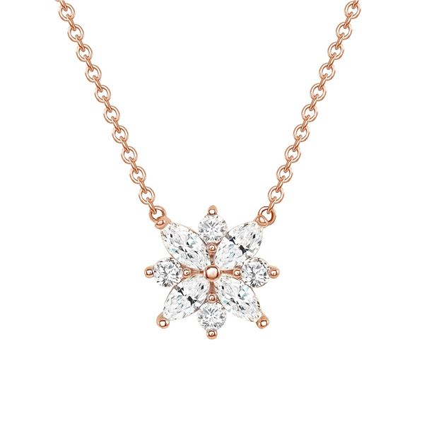 Natural 1.02 CTW Marquise Cut Diamond Necklace 14KT Rose Gold