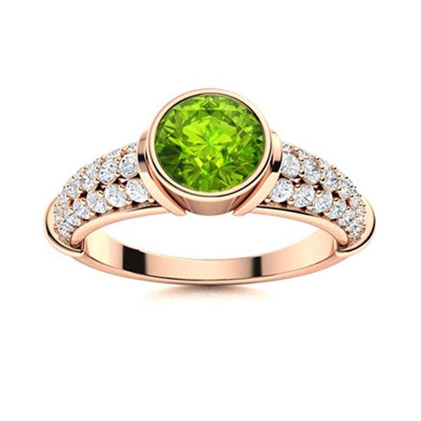 Natural 1.61 CTW Peridot & Diamond Engagement Ring 18K Rose Gold