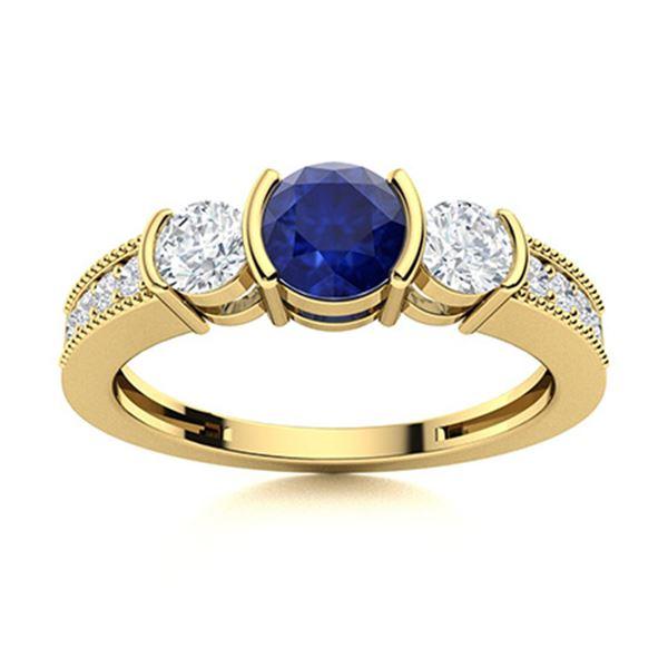 Natural 0.91 CTW Sapphire & Diamond Engagement Ring 14K Yellow Gold