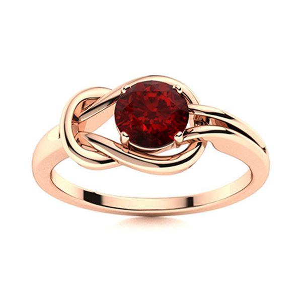 Natural 0.62 CTW Garnet Solitaire Ring 18K Rose Gold
