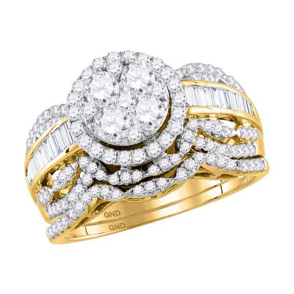 14kt Yellow Gold Round Diamond Cluster Bridal Wedding Ring Band Set 1-1/2 Cttw