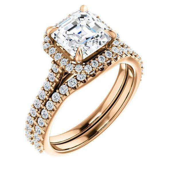 Natural 2.22 CTW Halo Asscher Cut Diamond Engagement Set 18KT Rose Gold