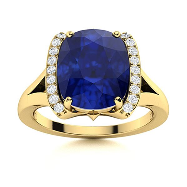 Natural 2.53 CTW Sapphire & Diamond Engagement Ring 18K Yellow Gold