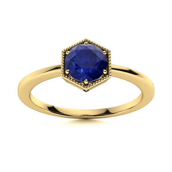 Natural 1.01 CTW Sapphire Solitaire Ring 14K Yellow Gold