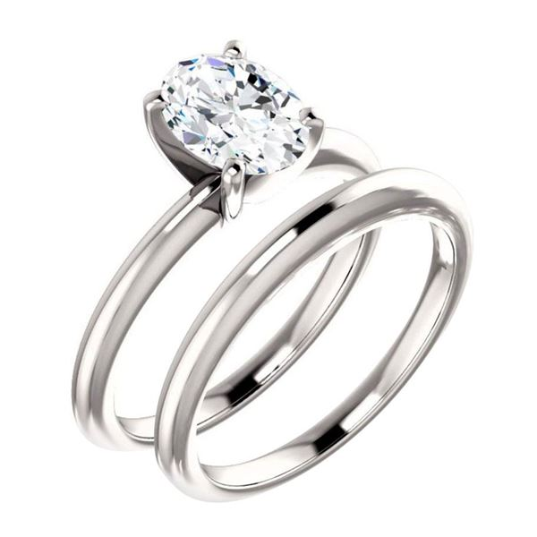 Natural 0.92 CTW Oval Cut Diamond Solitaire Engagement Ring 14KT White Gold