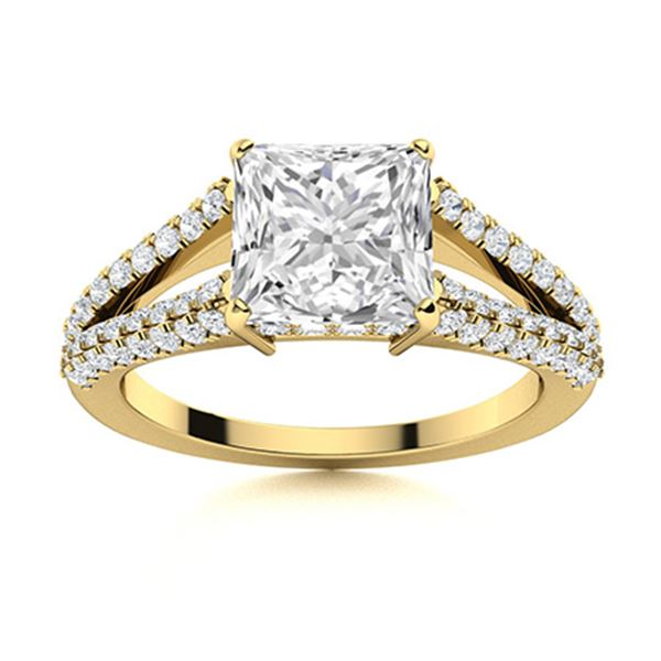 Natural 1.54 CTW Topaz & Diamond Engagement Ring 18K Yellow Gold