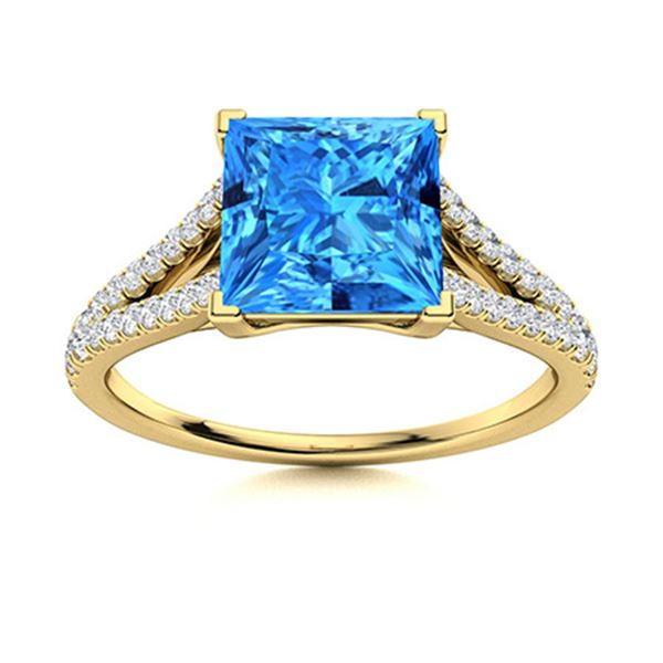 Natural 0.98 CTW Topaz & Diamond  Engagement Ring 18K Yellow Gold