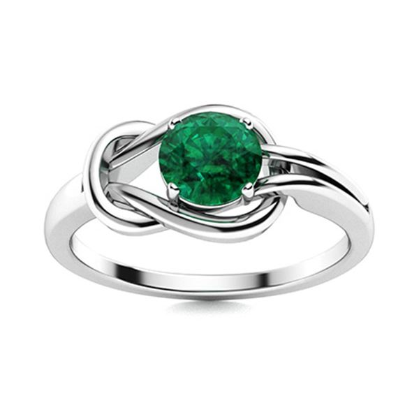 Natural 1.57 CTW Emerald Solitaire Ring 18K White Gold