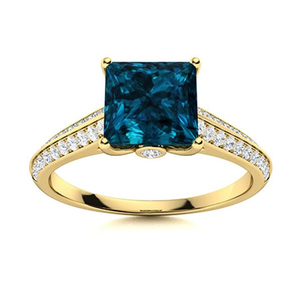 Natural 1.08 CTW Topaz & Diamond  Engagement Ring 18K Yellow Gold